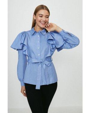 Coast Belted Ruffle Detail Shirt -, Blue