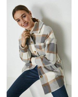 Coast Check Longline Shirt Jacket -, Camel