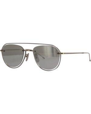 Thom Browne TBS112 01 Silver-Grey Enamel/Medium Grey-Silver Mirror