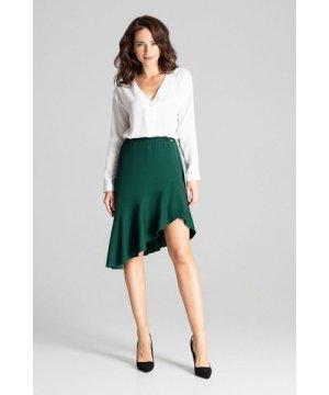 Lenitif Green Asymmetrical Skirt With Frill