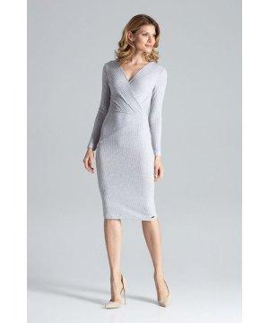 Figl Grey Fitted Long-Sleeve Midi Dress