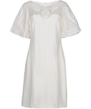 Mikael Aghal Ivory Silk Short Sleeve Dress