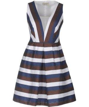 Ki6? Who Are You? Dark Brown Stripe Cotton Plunge Neckline Dress