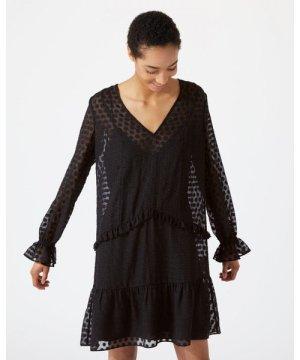 Jigsaw Spot Jacquard Drop Waist Dress