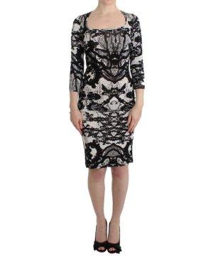 Roberto Cavalli Black Printed Sheath Dress