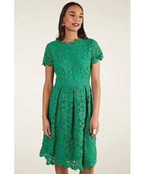 Yumi Green Guipure Lace Skater Dress
