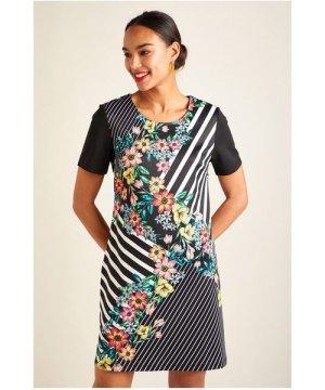 Yumi Black Floral Stripe Tunic Dress