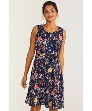 Yumi Navy Bird And Rose Print Skater Dress