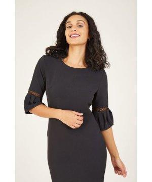 Yumi Black Frill Fitted Dresss