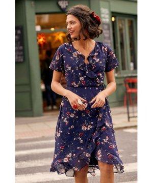 Yumi Navy Daisy Print Wrap Dress
