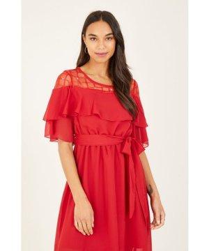 Yumi Red Lace Frill Midi Dresss