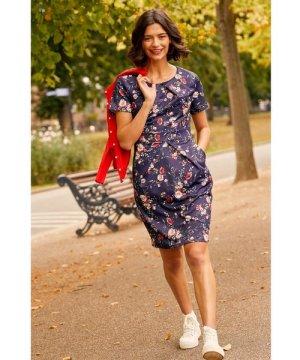 Yumi Navy Daisy Print Pocket Dress With Tie Back