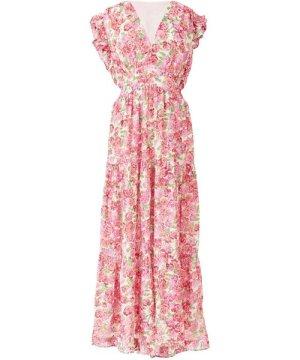 Yumi white summer rose print maxi dress
