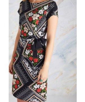 Yumi Black Floral Scarf Print Dress
