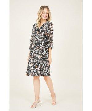 Yumi Black Lurex Floral Wrap Dress