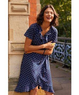 Yumi Navy Spot Print Wrap Dress