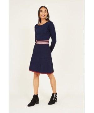 Yumi YUMI Navy Skater Knit Dress With Ripple