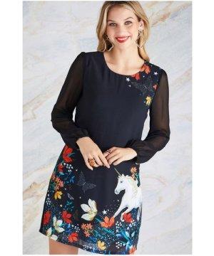 Yumi Black Unicorn Print Tunic