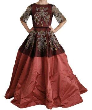 Dolce & Gabbana Crystal Chandelier Silk Princess Gown Dress