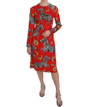 Dolce & Gabbana Red Zebra Lemon Silk Stretch Sheath Dress