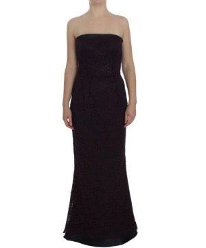 Dolce & Gabbana Purple Floral Ricamo Long Sheath Dress