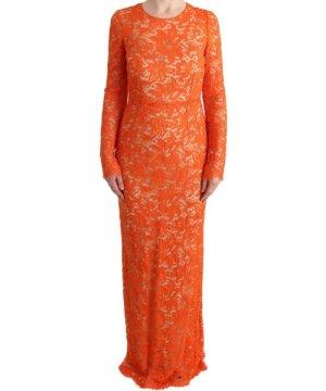 Dolce & Gabbana Orange Floral Ricamo Sheath Long Dress
