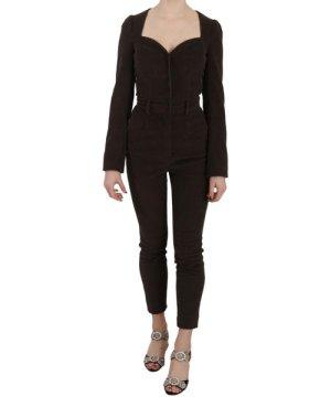 Dolce & Gabbana Brown Corduroy Long Sleeve Cotton Jumpsuit
