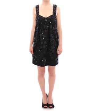 Dolce & Gabbana Black floral crystal embedded dress