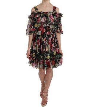 Dolce & Gabbana Silk Chiffon Floral Cold Shoulder Mini Dress