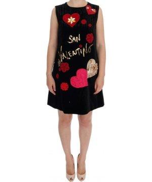 Dolce & Gabbana Black San Valentino Crystal Shift Dress