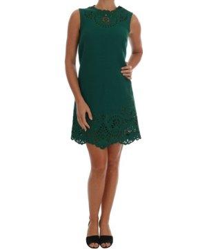 Dolce & Gabbana Green Floral Cutout Silk Wool Dress