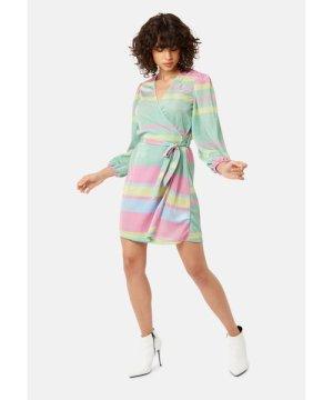 Traffic People Mutiny Stripe Long Sleeved Mini Dress in Multicoloured