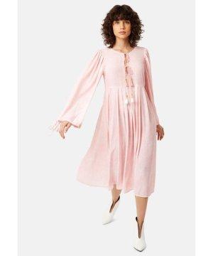 Traffic People Long Sleeved Boho Blues Maxi Dress in Pink