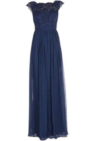 By Malina Dark Blue Silk And Lace Full Length Dress
