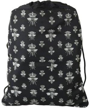 Dolce & Gabbana Black Bee Crown Adjustable Drawstring Women Nap Sack Bag