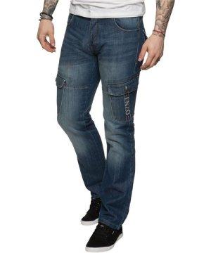 Enzo Mens Straight Fit Cargo Denim Jeans Mid Stonewash | Designer Menswear