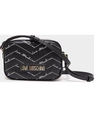 Women's Love Moschino All Over Print Crossbody Bag Black, Black