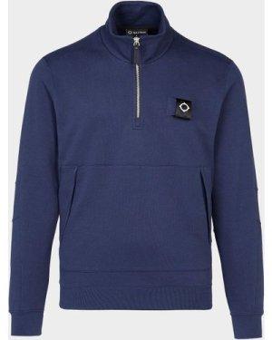 Men's Ma Strum Kangaroo Pocket Quarter Zip Sweatshirt Blue, Navy