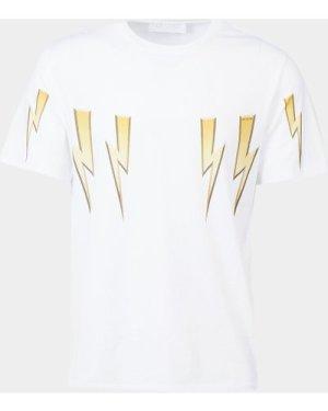 Men's Neil Barrett 3D Bolt Short Sleeve T-Shirt White, White