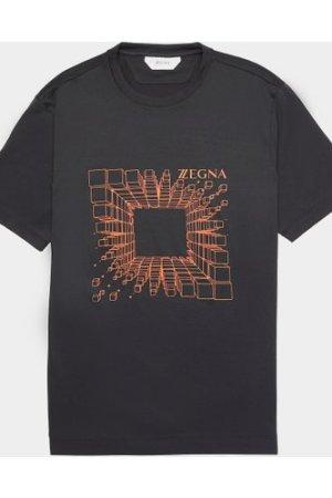 Men's Z Zegna Cube Print Short Sleeve T-Shirt Black, Black