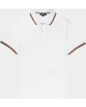 Men's Aquascutum Tipped Collar Short Sleeve Polo Shirt White, White