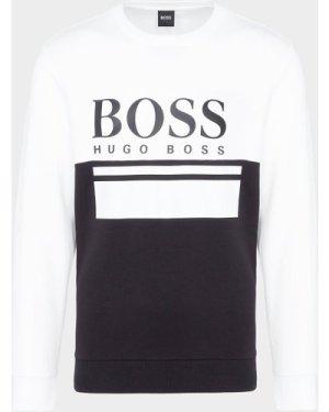 Men's BOSS Salbo Large Logo Sweatshirt Multi, White/Black