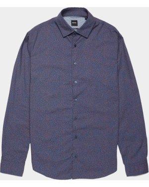 Men's BOSS Dot Print Long Sleeve Shirt Blue, Navy