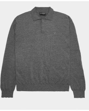 Men's Emporio Armani Knit Long Sleeve Polo Shirt Grey, Grey