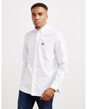 Men's Fred Perry Oxford Long Sleeve Shirt Multi, White/Black