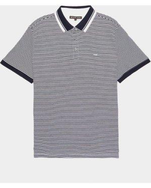 Men's Michael Kors Feeder Stripe Short Sleeve Polo Shirt Multi, Navy/White