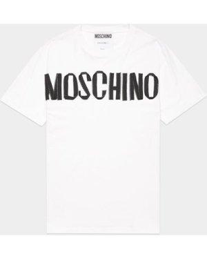 Men's Moschino Zip Tape Short Sleeve T-Shirt White, White