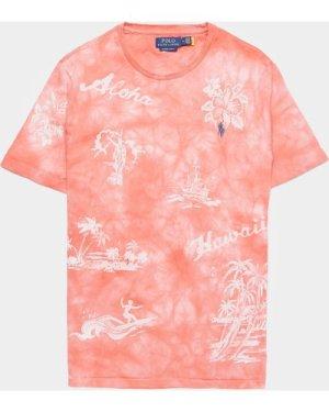 Men's Polo Ralph Lauren Tie Dye Aloha Short Sleeve T-Shirt Pink, Pink
