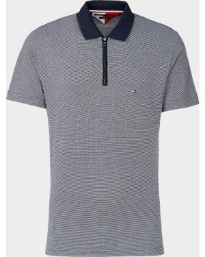 Men's Tommy Hilfiger Jacquard Zip Short Sleeve Polo Shirt Blue, Navy/Navy
