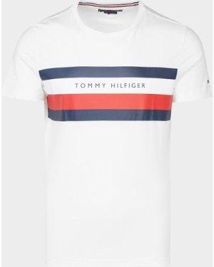 Men's Tommy Hilfiger Chest Stripe Short Sleeve T-Shirt White, White/White